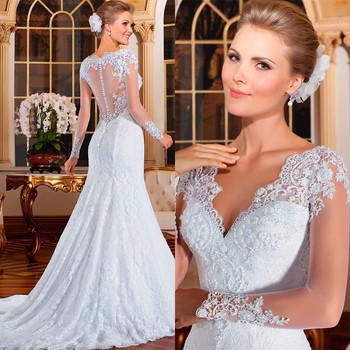 Vestido де Noiva 2015 sereia видеть сквозь назад русалка свадебные платья с длинным рукавом свадебные платья 2015 кружева свадебное платье