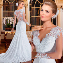 Stunning Mermaid Wedding Dress with Long Lace Sleeve