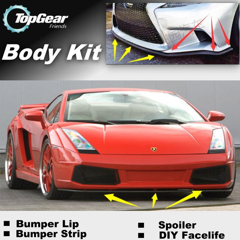 Bumper Lip Deflector Lips For Lamborghini All Models Front Spoiler Skirt For TopGear Friends Car View Tuning / Body Kit / Strip(China (Mainland))