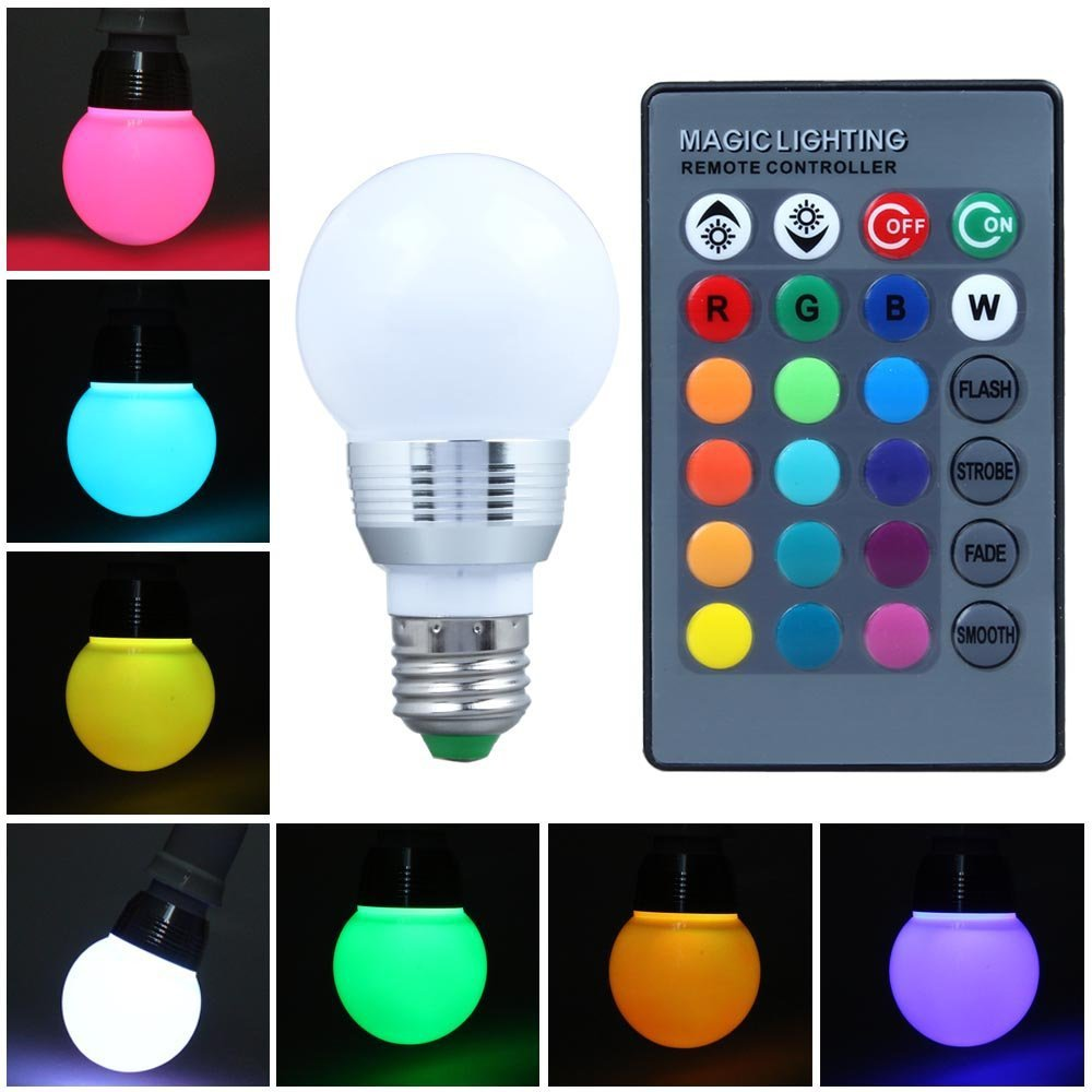 Bulk sales E27 10W RGB LED Light Color Changing Lamp Remote Controller The sitting room the hotel bar Any place(China (Mainland))