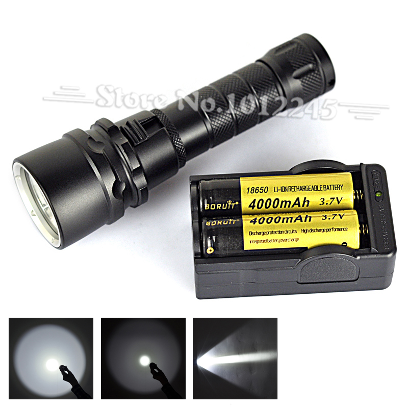 2x 18650+ Battery charger+1000 Lumens Underwater 50M Diving Flashlight CREE XM-L T6 LED Waterproof Diver Torch Diving Llight