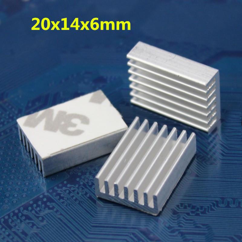 20pcs 20x14x6mm DIY CPU Card Extruded LED Cooler Heatsink Aluminum Heat Sink(China (Mainland))