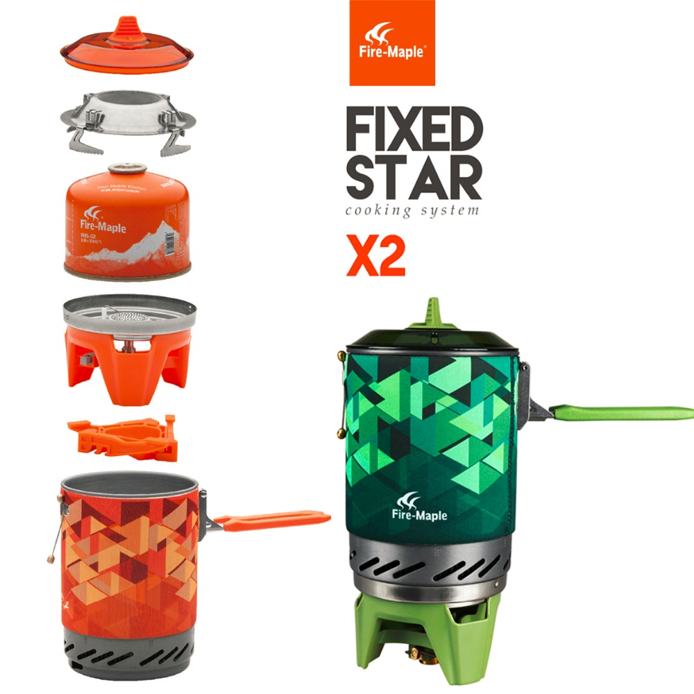 &Fire Maple compact One-Piece Camping Stove Heat Exchanger Pot camping equipment set Flash Personal Cooking System FMS-X2/ X2G(China (Mainland))