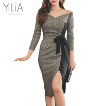 Buy Elegant Shoulder Bodycon Dress Women Autumn Patchwork Knee Length Dress Office Ladies Work Long Sleeves Bow Black Gray Plaid for $17.99 in AliExpress store