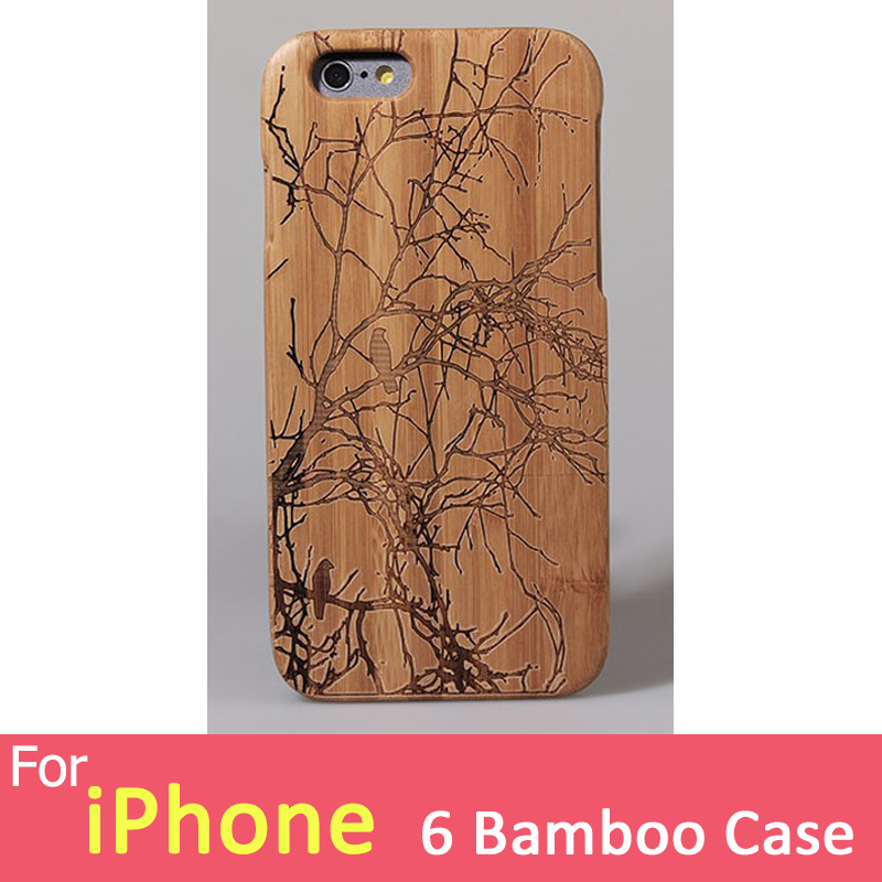 For Apple iPhone 6 Wooden Cover 4.7 inch Bamboo Wood For iPhone 6 Wooden Hard Case Housing Branch Bird Pattern()