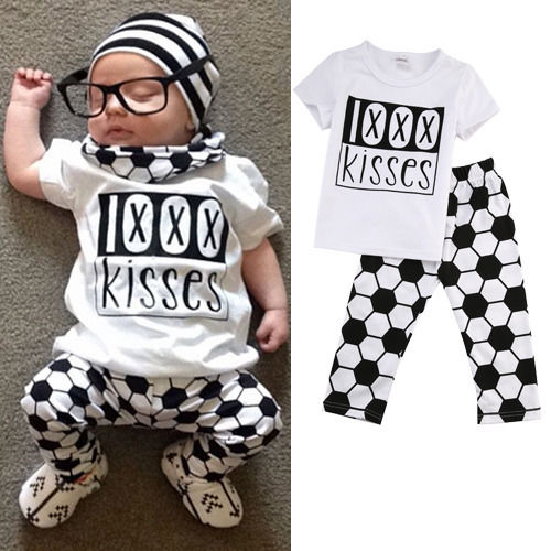 2pcs Newborn Toddler Infant Baby Boy Girl Football Outfits Clothes Babies Kids T-shirt Tops+Pants Outfit Set Clothing(China (Mainland))