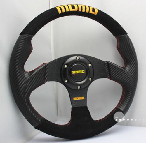 13 inch 330mm PVC Nubuck Leather Flat Dish Steering Wheel MOMO Rally Drifting Racing Fits OMP SPARC BOSS KIT - Bingo Life Trade Co., Ltd. store