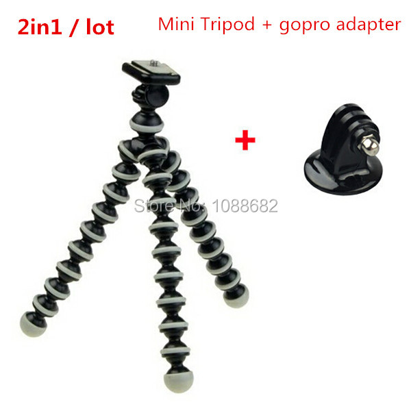 GoPro Mini Flexible Camera Tripod + Mount Adapter for Digital Camera Go Pro Hero 3+ 3 2 HD Accessories(China (Mainland))