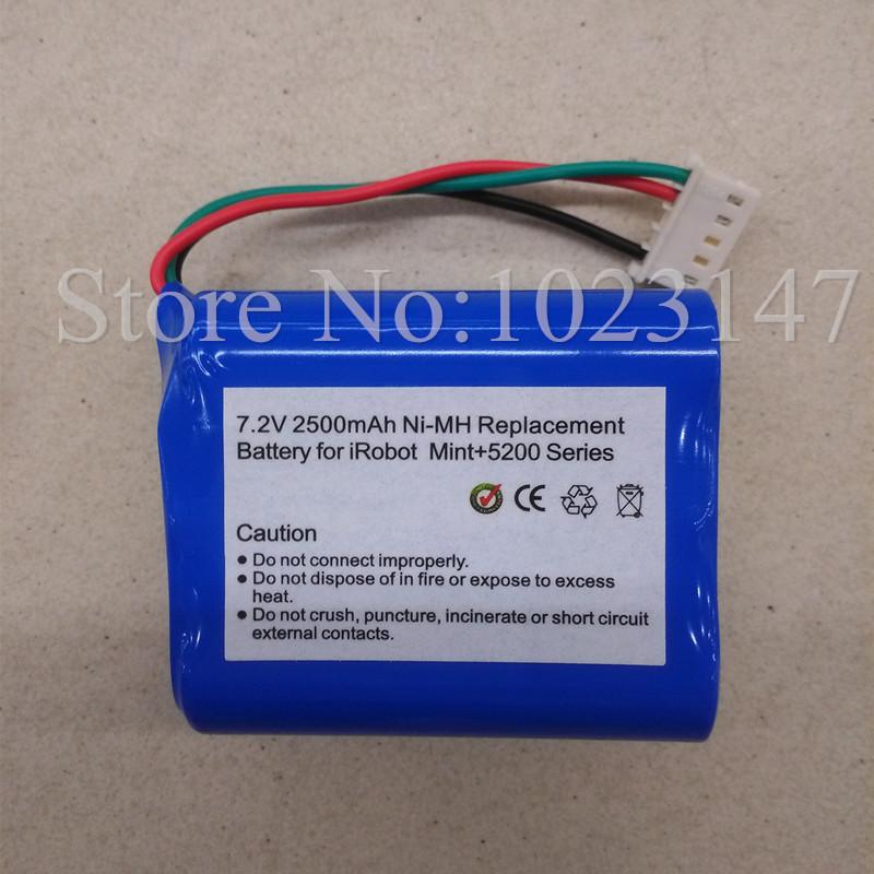 Braava Robot Vacuum Cleaner Battery 7.2V 2500 mAh Battery Replacement for irobot Braava 380 T Mint 5200 C(China (Mainland))