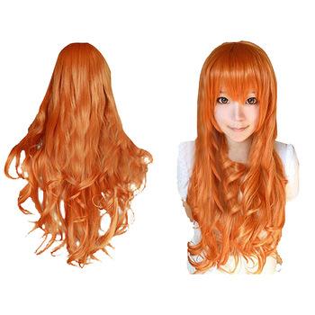 Женская Мода Парик Вьющиеся Волосы Парики С Челкой Длинные Вьющиеся Волосы Оранжевый Вьющиеся Волосы HB88