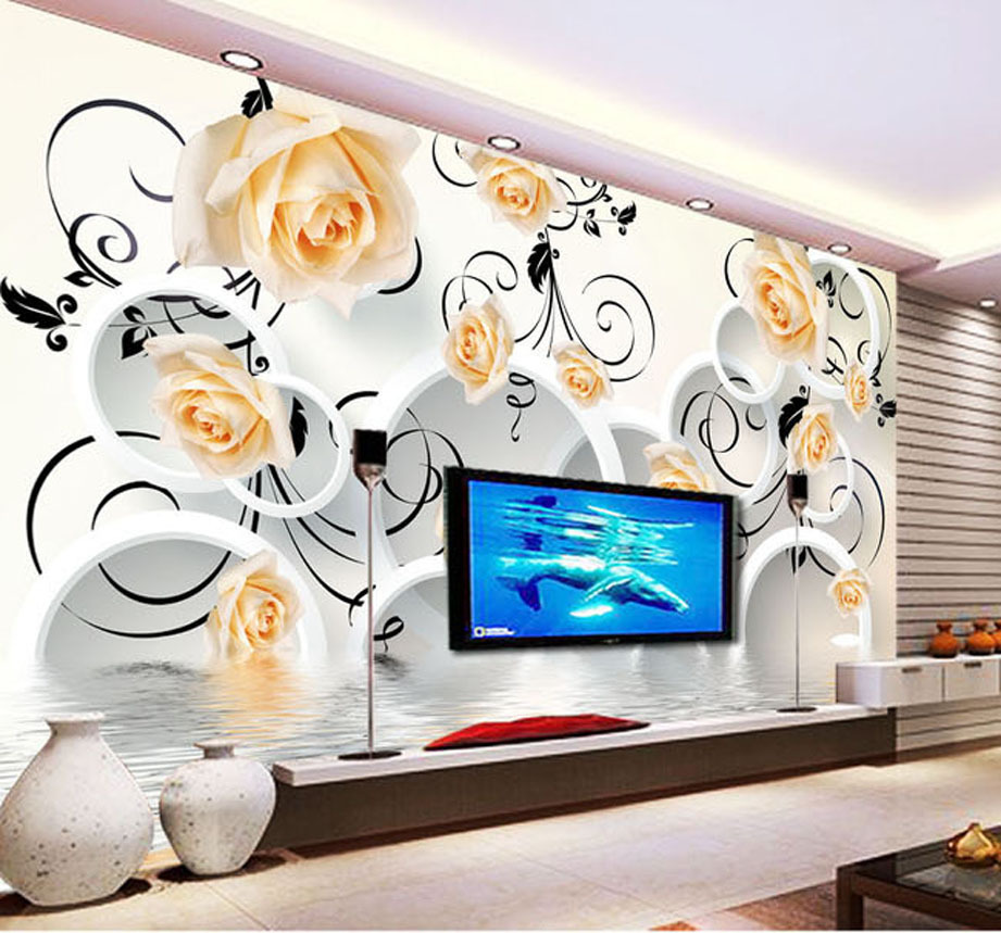 Fashion house restaurant guesthouse rose reflection stereoscopic 3D TV backdrop decorative painting simple design free shipping(China (Mainland))