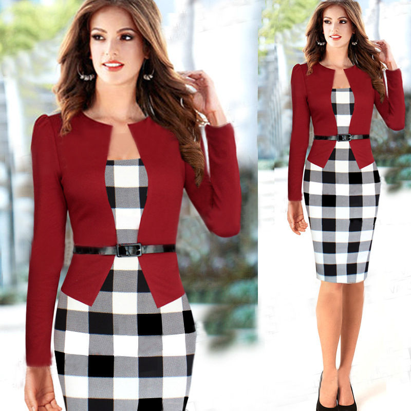 2016 Women Dress Belt font b Tartan b font Patchwork Tunic Dress Work Business Plaid Bodycon
