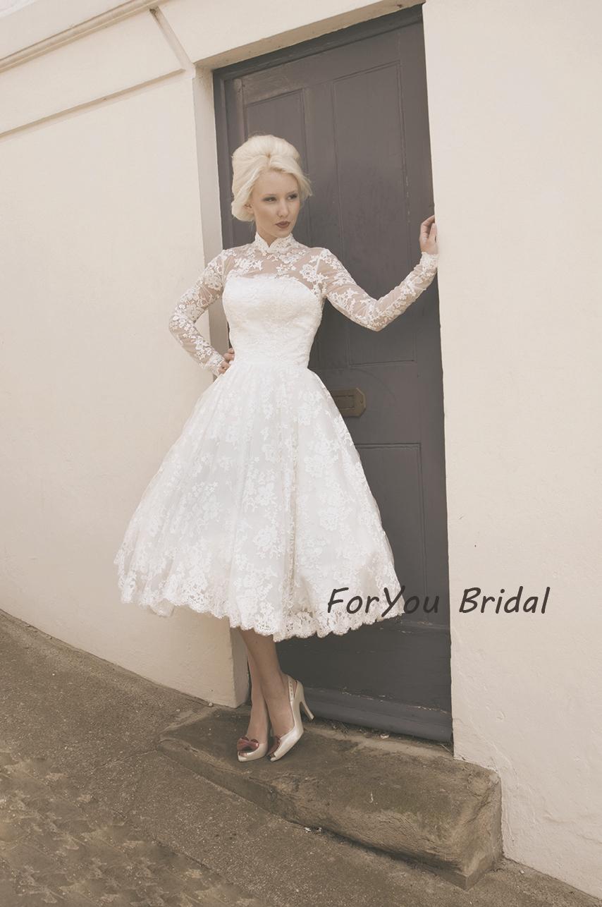 Vestidos Boda Romantic High Neck Long Sleeve Lace Tea Length Wedding Dress Ve