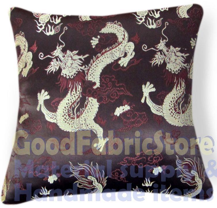 "BL 121a Light Gold Flying Dragon Brown Rayon Brocade Cushion Cover/Pillow Case*Custom Size*16x16"",18x18"",19x19"",20x20"",24x24""(China (Mainland))"