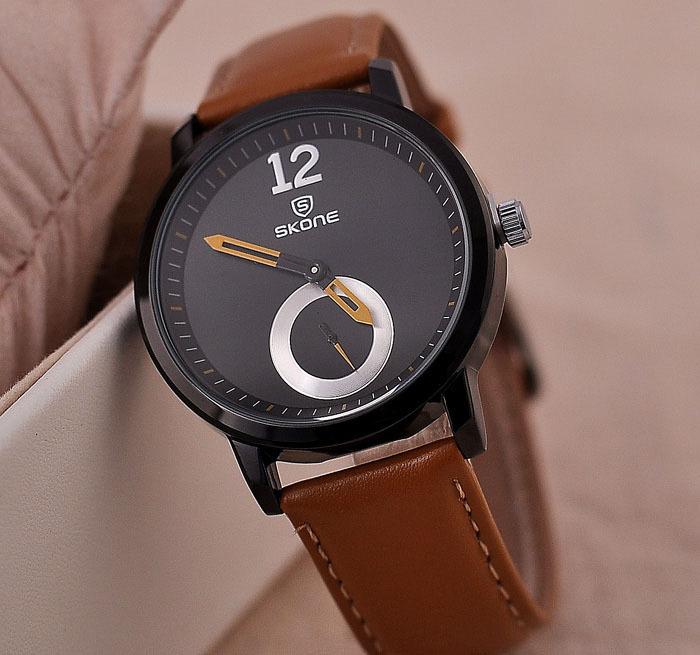 Hot sale! Brand Skone watch men brown leather strap waterproof male clock durable movement fashion luxury timekeep - Gnomon Industry Co., Ltd store