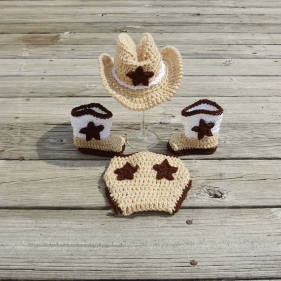Newborn Baby Crochet Cowboy Hat Boots Photo Prop Outfit Diaper Cover Set Shower Gift 0-3 Months(China (Mainland))