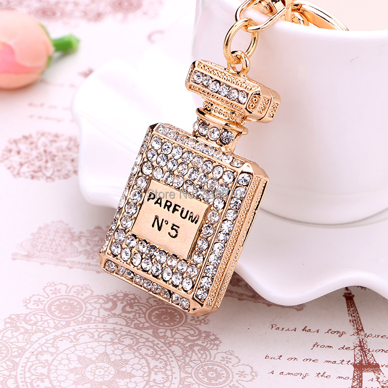 llaveros gift charm Crystal perfume bottle keychain chaveiro fashion gold-plated key chain ring holder women bag&car accessories(China (Mainland))