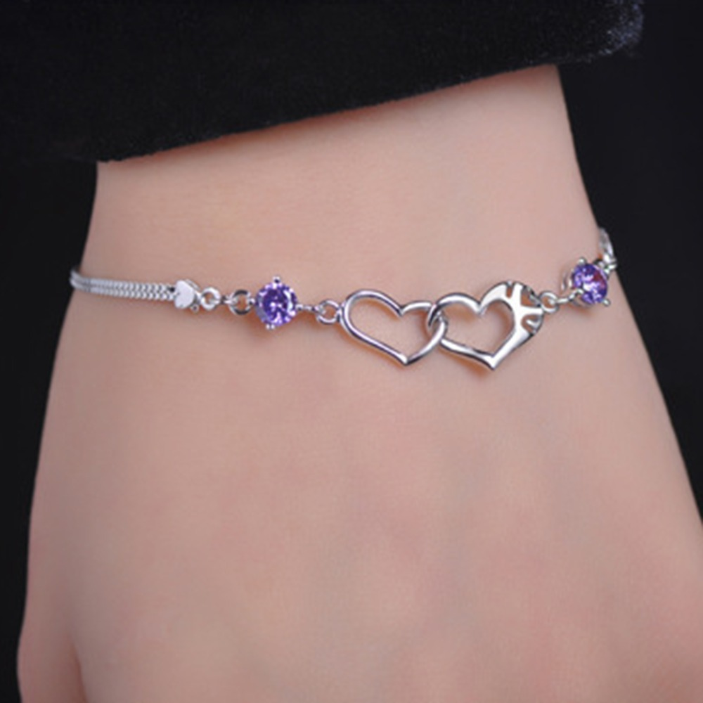 925 Sterling Silver Color Jewelry Bracelets Crystal Love Heart Charm Chain Bracelet Fashion For Women Lady Girl Free Shipping(China (Mainland))