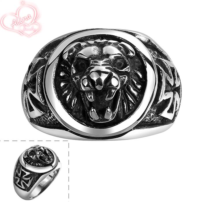 Lion Head rings 316L Stainless Steel Ring Party Jewelry Gift Wholesale 2015 New Domineering Strong Animal Bands Ring Men Jewelry(China (Mainland))