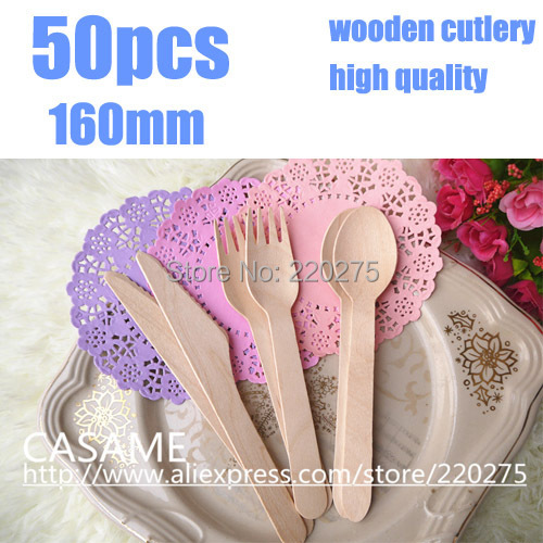 160mm 50pcs disposable cutlery Wooden Cutlery Set Picnic Cutlery high qualit Wedding disposable wooden cutlery Wooden forks(China (Mainland))