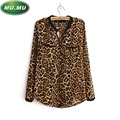 occident style Spring and autumn Women s clothing leopard print chiffon shirt long sleeved blouses S