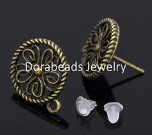 Free Shipping! 25 Pairs Bronze Tone Earring Post W/ Stoppers&Loop 17x13mm (B14741)(China (Mainland))