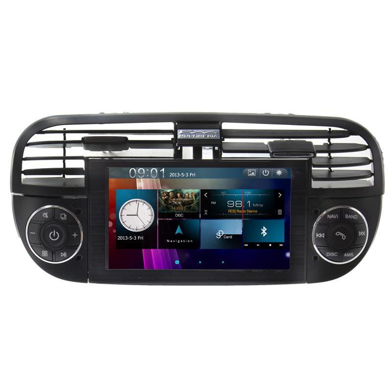 Free Shipping Car Multimedia Media DVD Player For Fiat Abarth 500 Cinquecento 2007-2014 Radio Steering Wheel Control Black Color(China (Mainland))