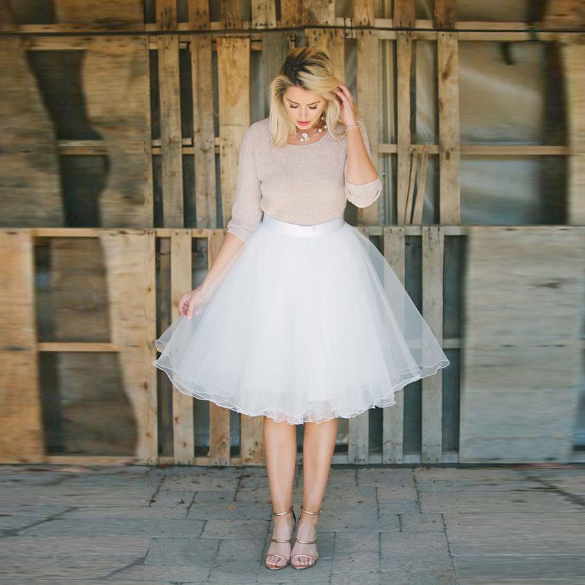 white tulle skirt satin zipper waistline a line knee
