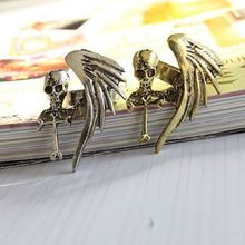 Hot Fashion Vintage Punk Rock Gothic Cool Skull Wing Cross Adjustable Finger Ring Women Fashion Jewelry