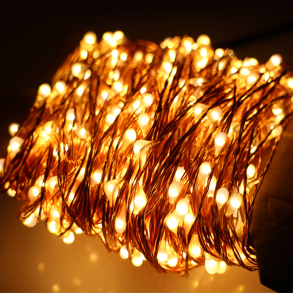 6 Colors 50M 165Ft 500 LEDs Copper Wire Warm White LED String Light Starry Lights Includes Power ...