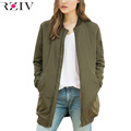RZIV winer long jackets and coats 2017 female coat casual long section of solid color bomber