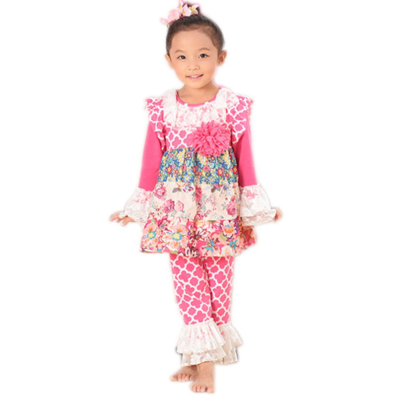 2015 flowers baby girls outfits kids baby sets clover sweet clothes autumn childrens girls clothing set kids girl clothes suits(China (Mainland))