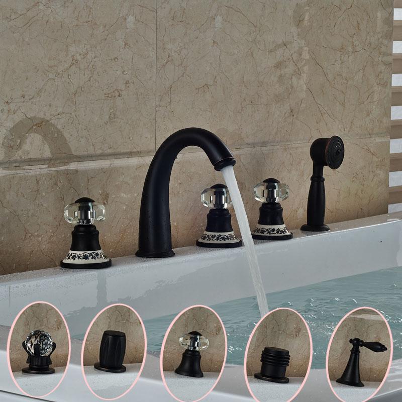 Здесь можно купить  2016 Newly 5pcs Widespread Bathtub Faucet Bathroom Deck Mount 5 Holes with Handshower Tub Mixer Taps  Дом и Сад