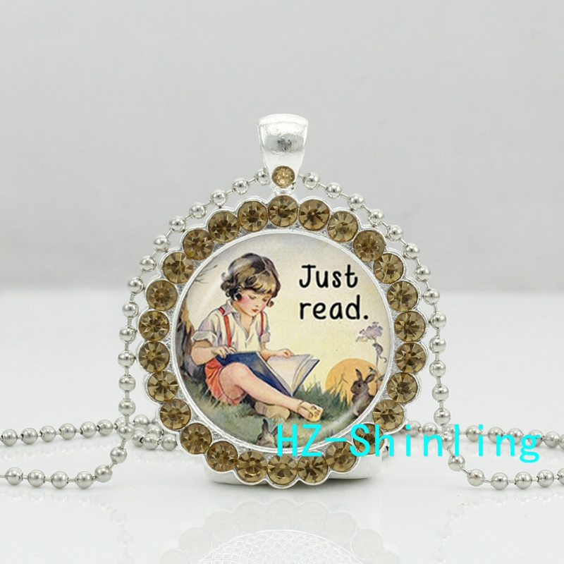 New Just Read Book Necklace Just Read Book Boy Crystal Pendant Jewelry Crystal Pendant Necklace(China (Mainland))
