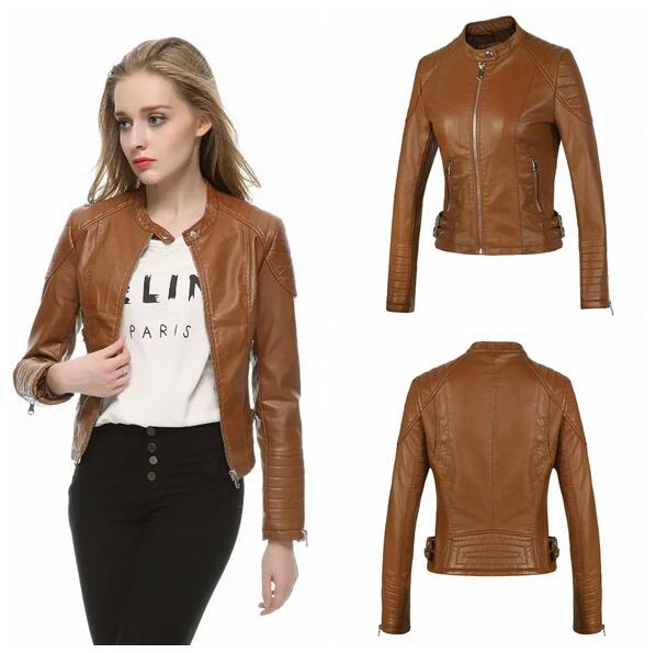 High Quality Womens Brown Faux Leather Jacket-Buy Cheap Womens