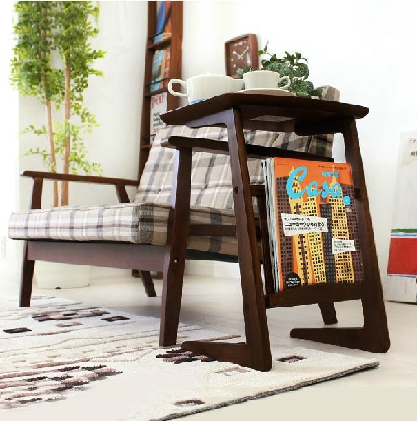 Nordic Style Fueniture Coffee Table Console Newspaper Magazine Rack Simple  Solid Wood Stand