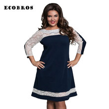 Buy ECOBROS Big size 6XL 2017 Spring New Fat MM Woman Lace Dress Casual Loose patchwork knee dresses plus size women clothing 6xl for $17.99 in AliExpress store