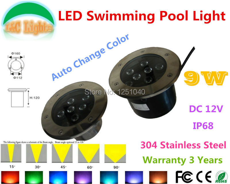 Auto Change Color Rgb 9w Outdoor Underwater Led Light 12v Waterproof Ip68 Swimming Pool Lights