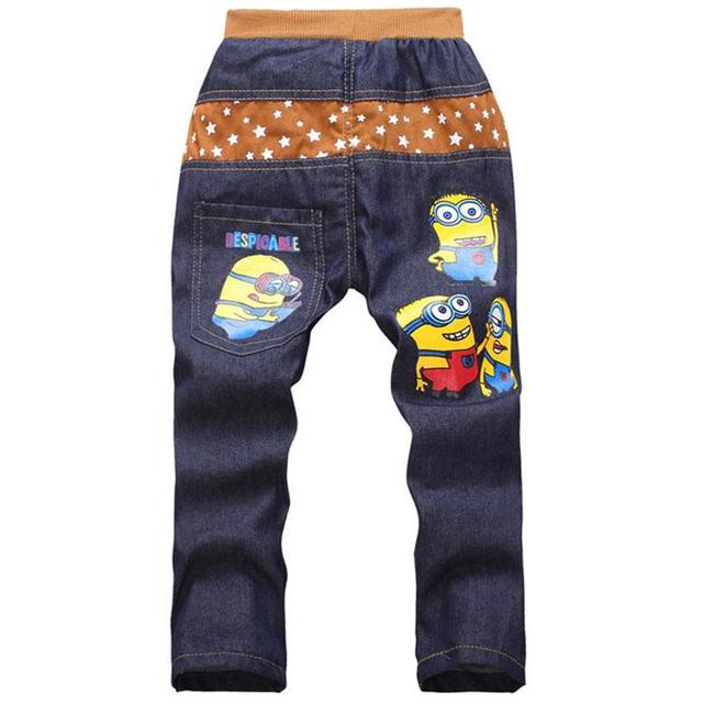 Дети 2016 мода миньон одежда девушка / мальчики джинсы для детей тонкий свободного покроя брюки