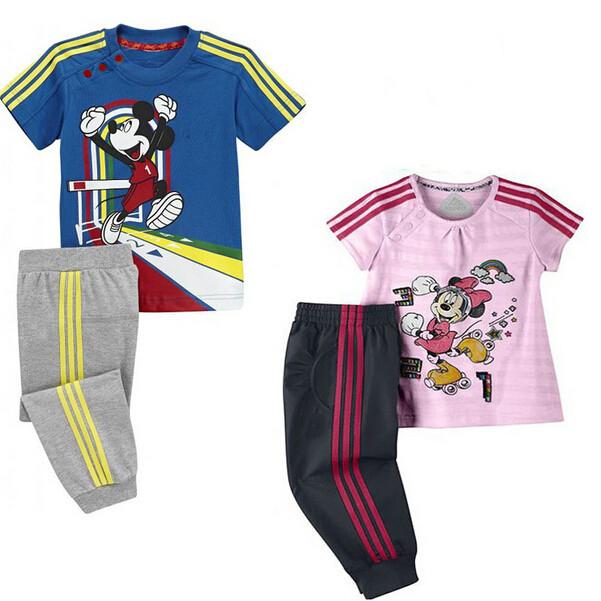 2015 new Kids Clothes Sets Minnie set brand name girls short-sleeve t shirt pants kids sport sets children hoodies blue pink(China (Mainland))