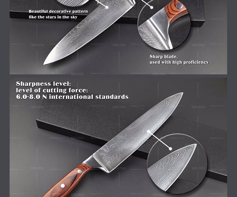 "Buy XINZUO 8 "" chef knife Japanese Damascus kitchen knife senior meat vegetable knife Color wood handle kitchen tool free shipping cheap"