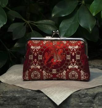 15 Handmade Silk Chinese Dragon Red Fashion Brocade Money Cards Small Packet Mouth Gold Metal Frame Women Handbag Finish Product(China (Mainland))