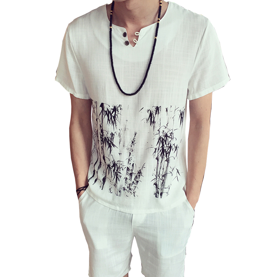 Men Short Sleeve T-Shirts Linen Men Tee Shirt Homme Chinese Ink Style Bamboo Print Funny T Shirts ropa casual hombre Plus Size(China (Mainland))