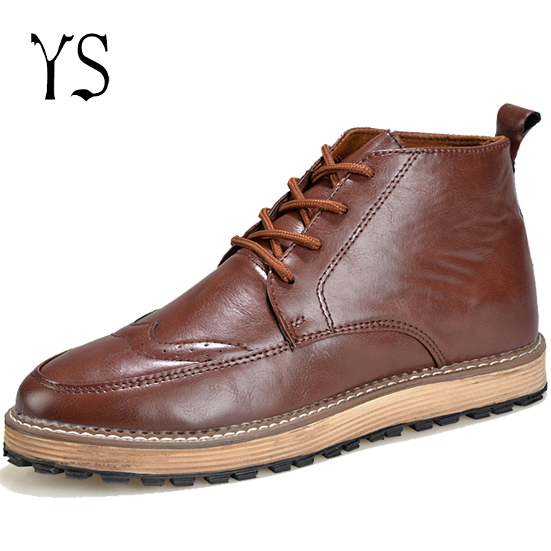 Y-s 2016  Adults Classic Chukka Mens Flat Ankle Leather Boots Mans Low Lace Up Desert Boots Youth Brown Round Toe Botines y-117<br><br>Aliexpress