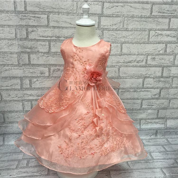 Organza Silk flower girl dress embroidery princess ball gown for children girls wedding party baptism bridesmaid formal dress(China (Mainland))
