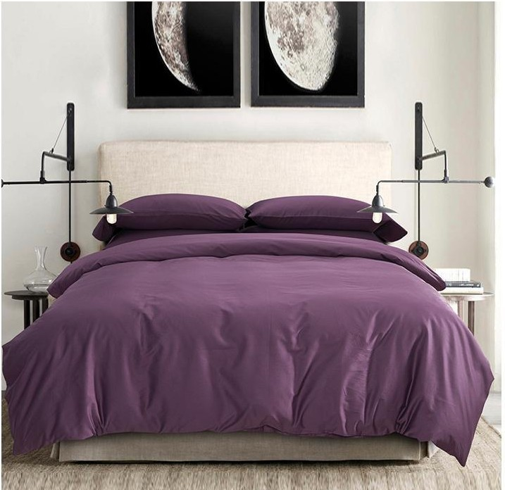 100 egyptian cotton sheets dark deep purple bedding sets for Lit queen size taille
