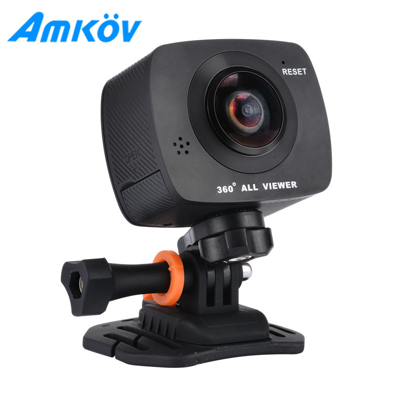 AMKOV AMK200S Mini Cameras dual lens 360*360 Degree Panorama Camera HD WiFi Sport Action Cam Support VR Youtube Wechat Sharing(China (Mainland))