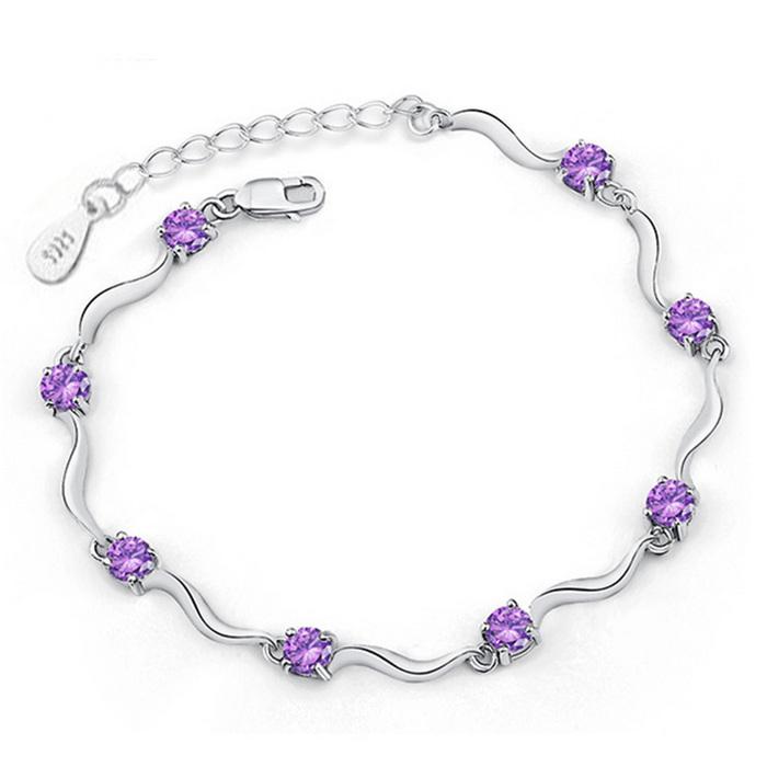 Fashion 925 silver bracelet fine CZ / crystal bracelet adjustable waves / c chili bracelets for women jewelry pulseras mujer(China (Mainland))
