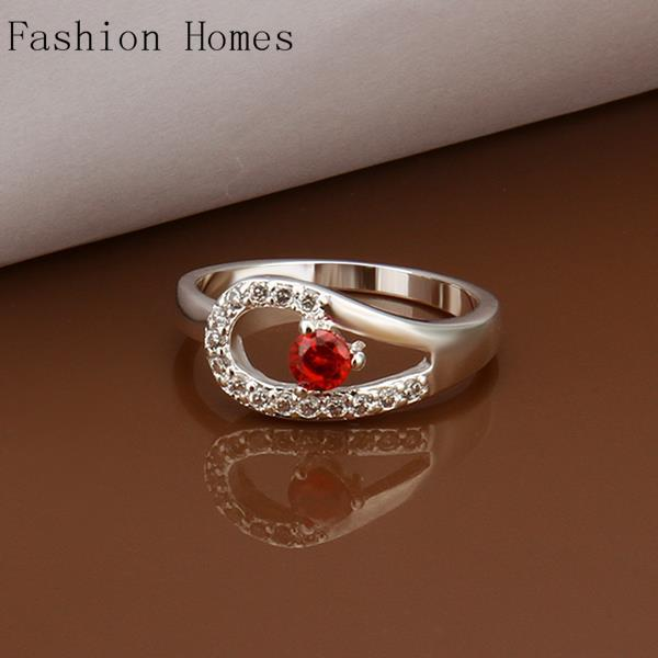R285 8 Hot Sale Fashion Jewelry CZ Diamond Rings for women Silver Plated Ring