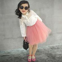 Wholesale(5pcs/lot)-2016 spring lace cotton white shirt for child 4505 girl